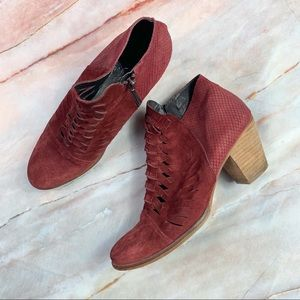 Free People Red Loveland Suede Ankle Boots